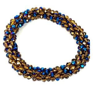 3/$20 Glass Seed Bead Roll on Bracelet Brown Blue